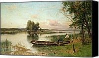 Featured Canvas Prints - Fishermen unloading their catch in a river landscape Canvas Print by Hjalmar Munsterhjelm