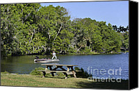 Challenge Canvas Prints - Fishing at Ponce De Leon Springs FL Canvas Print by Christine Till