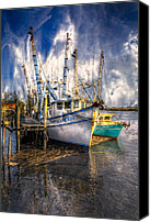 Florida Bridge Canvas Prints - Fishing Boats Canvas Print by Debra and Dave Vanderlaan