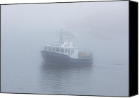 Michel Soucy Photo Canvas Prints - Fishing - Industry - Lobster Boat in Fog Canvas Print by Michel Soucy