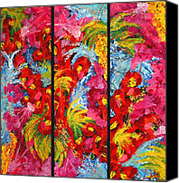 Blue Rose Prints Canvas Prints - Floral Abstract Triptych Canvas Print by Julia  Fine Art