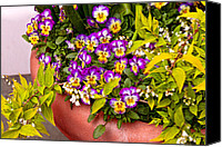 Purples Canvas Prints - Flower - Pansy - Purple Posies  Canvas Print by Mike Savad