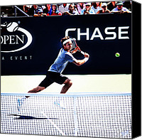 Athletic Digital Art Canvas Prints - Flying Federer  Canvas Print by Nishanth Gopinathan