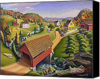 Folksy Canvas Prints - folk art farm Covered Bridge Appalachian Landscape Americana American country mountain oil painting Canvas Print by Walt Curlee