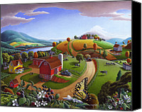 Farms Canvas Prints - Folk Art Farm Fairy Tale Tail Blackberry Patch Rural Country Life Scene American Americana Landscape Canvas Print by Walt Curlee