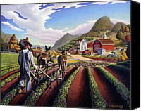 Folksy Canvas Prints - folk art farm landscape Cultivating Peas fairy tale scene americana country life fantasy American Canvas Print by Walt Curlee