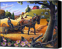 Hay Canvas Prints - Folk Art Farm Landscape Raking Hay Field Rustic Country American Oil Painting Canvas Print by Walt Curlee