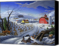 Folksy Canvas Prints - Folk Art Winter Landscape Farm deer fairy tale country farms fantasy rustic Americana life scene Canvas Print by Walt Curlee
