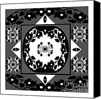 Black And White Digital Art Drawings Canvas Prints - Foulard Pattern Variation 1 Canvas Print by Greta Corens