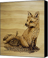 America Pyrography Canvas Prints - Fox Pup Canvas Print by Ron Haist