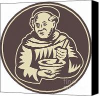 Priest Canvas Prints - Friar Monk Cook Mixing Bowl Woodcut Canvas Print by Aloysius Patrimonio