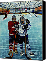 Sports Art Painting Canvas Prints - Friends and Foes Canvas Print by Joy DiNardo Bradley         DiNardo Designs