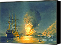Padre Art Canvas Prints - Frigate Missouri Explosion 1843 Canvas Print by Padre Art