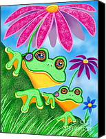 Nick Gustafson Canvas Prints - Froggies and Flowers Canvas Print by Nick Gustafson