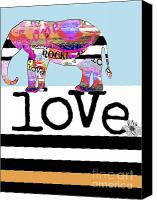 Fun Mixed Media Canvas Prints - Fun Elephant Wall Art Canvas Print by Anahi DeCanio