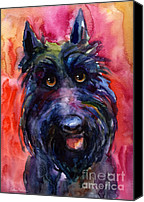 Scottie Dog Canvas Prints - Funny curious Scottish terrier dog portrait Canvas Print by Svetlana Novikova