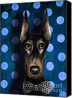 Austin Pet Artist Canvas Prints - Funny Doberman Pincher gentleman dog portrait Canvas Print by Svetlana Novikova