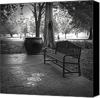 Ann Powell Canvas Prints - Garden Bench black and white photograph Canvas Print by Ann Powell