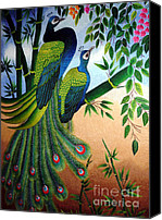Featured Tapestries - Textiles Canvas Prints - Garden Jewel hand embroidery Canvas Print by To-Tam Gerwe