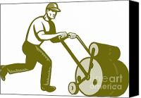 Gardener Canvas Prints - Gardener Landscaper Pushing Lawn Roller Retro Canvas Print by Aloysius Patrimonio