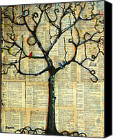 Couples Mixed Media Canvas Prints - Gathering Place Winter Tree Canvas Print by Blenda Tyvoll