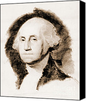 Padre Art Canvas Prints - George Washington Portrait 1850 Canvas Print by Padre Art