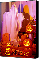 Ghosts Canvas Prints - Ghost with pumpkins Canvas Print by Garry Gay