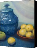 Photographs Pastels Canvas Prints - Ginger Jar with Lemons Canvas Print by Judy Albright