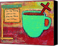 Coffee Cup Canvas Prints - Give me Jesus and Coffee Canvas Print by Lauretta Curtis