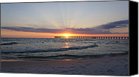 Panama City Beach Fl Canvas Prints - Glowing Sunset Canvas Print by Sandy Keeton