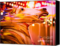 Sonja Quintero Canvas Prints - Golden Carousel Horse Canvas Print by Sonja Quintero