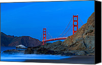 Golden Gate Bridge Tower Blue Sky Canvas Prints - Golden Gate Bridge - Marshall Beach Canvas Print by Clint Losee