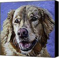 Dog Painting Canvas Prints - Golden Retriever - Molly Canvas Print by Enzie Shahmiri