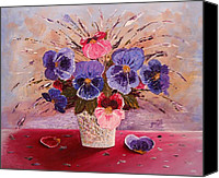 Georgeta Blanaru Canvas Prints - Gorgeous Pansies original palette knife painting Canvas Print by Georgeta Blanaru