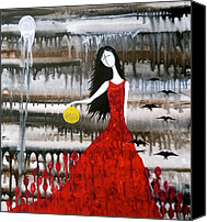 Red Moon Digital Art Canvas Prints - Gothic Figure Art in Red Dress  Canvas Print by Laura  Carter
