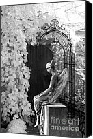 Angel Photographs Photo Canvas Prints - Gothic Sad Angel Black and White Archway Canvas Print by Kathy Fornal