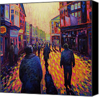 Lights Framed Prints Canvas Prints - Grafton Street Dublin Canvas Print by John  Nolan