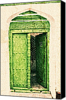 Digital Art Special Promotions - Green Door Canvas Print by Amyn Nasser