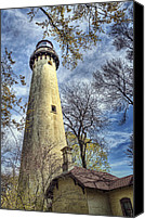 Light House Canvas Prints - Grosse Point Lighthouse Color Canvas Print by Scott Norris