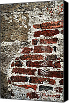 Decaying Canvas Prints - Grunge brick wall Canvas Print by Elena Elisseeva