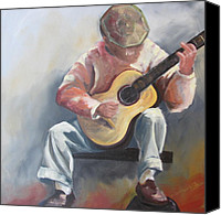 Guitarist Painting Special Promotions - Guitar Man Canvas Print by Susan Richardson