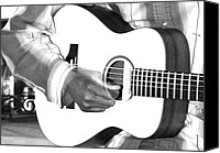 Black And White Photo Special Promotions - Guitar Player Canvas Print by Aidan Moran