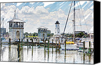 Joan Mccool Canvas Prints - Gulfport Harbor Sketch Photo Canvas Print by Joan McCool