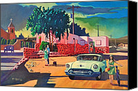 Oldsmobile Canvas Prints - Guys Dolls and Pink Adobe Canvas Print by Art West