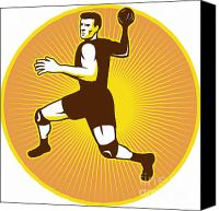 Player Canvas Prints - Handball Player Jumping Throwing Ball Scoring Retro Canvas Print by Aloysius Patrimonio