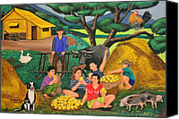 Filipino Canvas Prints - Harvest Time Canvas Print by Cyril and Lorna Maza