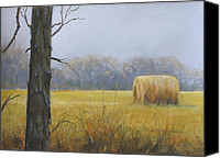 Solitude Pastels Canvas Prints - Haybale Canvas Print by Jean Neely