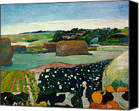 Rural Scenes Canvas Prints - Haystacks in Brittany Canvas Print by Paul Gaugin
