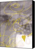Ann Powell Canvas Prints - Heart Yellow and Gray Canvas Print by Ann Powell