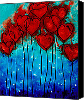 Engagement Painting Canvas Prints - Hearts on Fire Canvas Print by Sharon Cummings